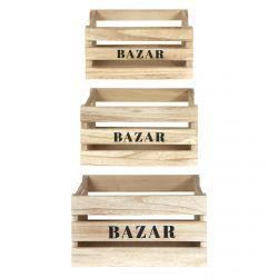 BAZAR - Lot de 3 Cagettes Gigognes Naturelles