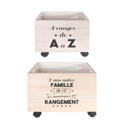 IWEN - Lot de 2 Boîtes de Rangement à Roulettes