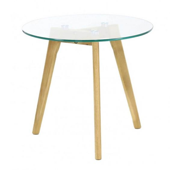 Theana - Table Basse Ronde Verre Trempé et Pieds Métal