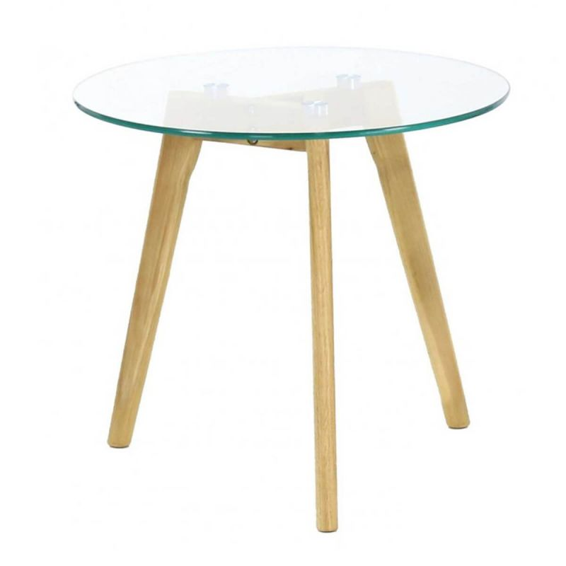Theana Table Basse Ronde Verre Trempe Et Pieds Metal Altobuy Fr