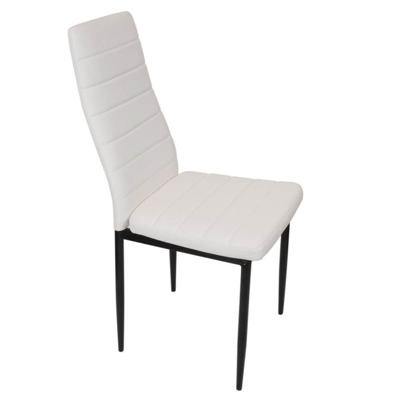 Elrad Chaise PVC Blanc et Pieds Métalliques