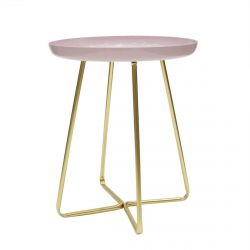 APRYL - Table d'Appoint Ronde Coloris Rose