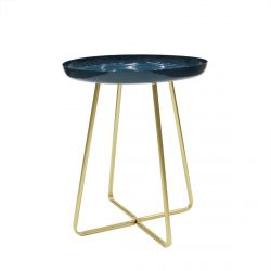 Apryl - Table d'Appoint Ronde Coloris Bleu