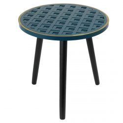 Lisea - Table d'Appoint Ronde Plateau Bleu et Doré