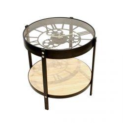 Chronos - Table d'Appoint Diam. 40.5cm avec Horloge Intégrée