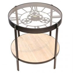 CHRONOS - Table d'Appoint Diam. 50.5cm avec Horloge Intégrée