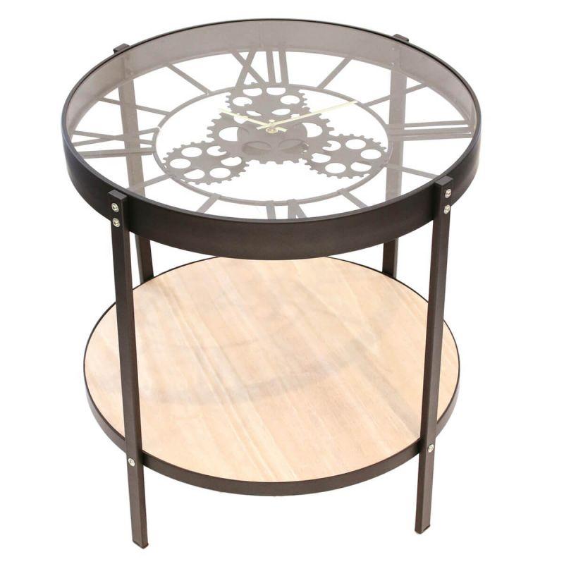 Chronos table d'appoint diam. 40.5cm avec horloge intégrée