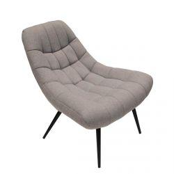 BOWIE - Fauteuil Design Incurvé Tissu Gris