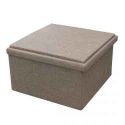 POOJA - Grand Pouf-Coffre Table Pliable Velours Gris