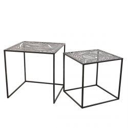 FLORA - Lot de 2 Tables Gigognes Métal Noir Motif Feuille