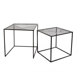 FLORA - Lot de 2 Tables Gigognes Métal Noir Motif Traits