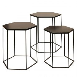 HELLA - Lot de 3 Tables Gigognes Hexagonales Métal Noir