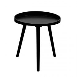 LALIN - Table d'Appoint Ronde Diam. 48cm Coloris Noir