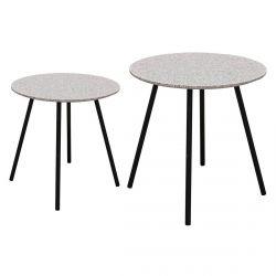 GRACY - Lot de 2 Tables Gigognes Plateaux Effet Granit Gris