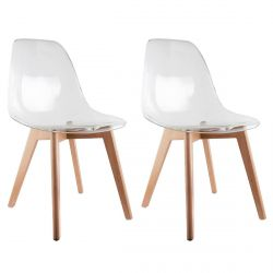 OKOA - Lot de 2 Chaises Transparentes
