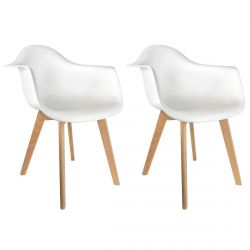 TRAVIS - Lot de 2 Fauteuils Assises Blanches