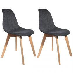 STYGN - Lot de 2 Chaises avec Maille Noire