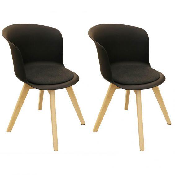 Enael - Lot de 2 Chaises Noires avec Assise Noire