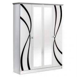 SYLLA BLANCHE - Armoire 4 Portes avec Miroir Central