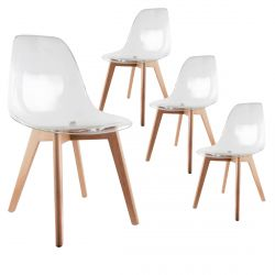 OKOA - Lot de 4 Chaises Transparentes
