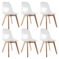 OKOA - Lot de 6 Chaises Transparentes