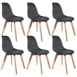 STYGN - Lot de 6 Chaises avec Maille Noire