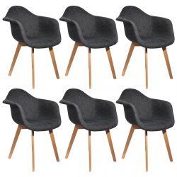 STYGN - Lot de 6 Fauteuils avec Maille Noire
