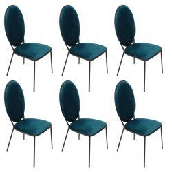 CLOVIS - Lot de 6 Chaises Effet Velours Bleues