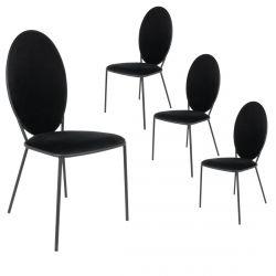Clovis - Lot de 4 Chaises Effet Velours Noires
