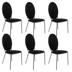 Clovis - Lot de 6 Chaises Effet Velours Noires