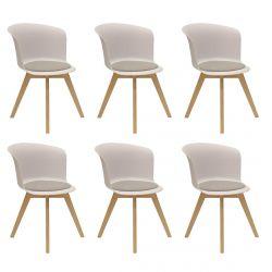 Enael - Lot de 6 Chaises Blanches avec Assise Grise