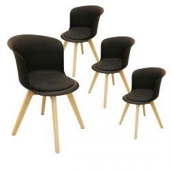 Enael - Lot de 4 Chaises Noires avec Assise Noire