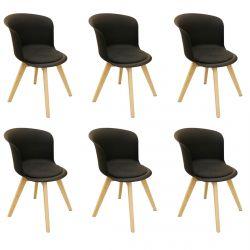 Enael - Lot de 6 Chaises Noires avec Assise Noire