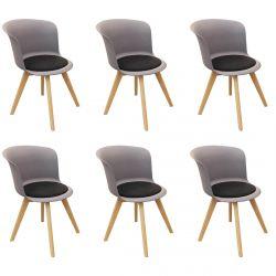 Enael - Lot de 6 Chaises Grises avec Assise Noire