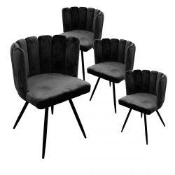 Charlotte - Lot de 4 Chaises Velours Noir