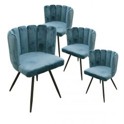 CHARLOTTE - Lot de 4 Chaises Velours Bleu