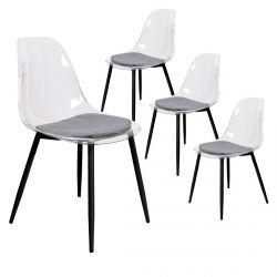 TRINA - Lot de 4 Chaises Transparentes et Pieds Métal