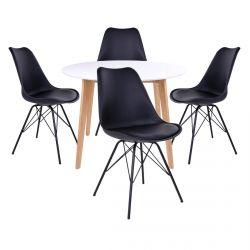 Gram - Ensemble Table Ronde Naturelle et Blanche + 4 Chaises Noires
