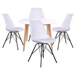 Gram - Ensemble Table Ronde Naturelle et Blanche + 4 Chaises Blanches