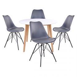 Gram - Ensemble Table Ronde Naturelle et Blanche + 4 Chaises Grises