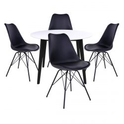 Gram - Ensemble Table Ronde Noire et Blanche + 4 Chaises Noires