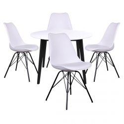 Gram - Ensemble Table Ronde Noire et Blanche + 4 Chaises Blanches