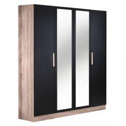 Maelys - Armoire 4 Portes avec Miroir Central