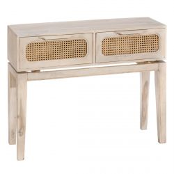 CAMILLE - Console 2 Tiroirs Bois Massif et Bambou