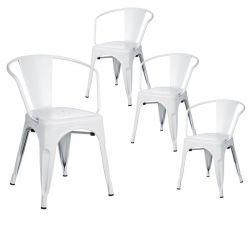LUCY - Lot de 4 Chaises Métalliques Blanches