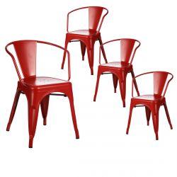 Lucy - Lot de 4 Chaises Métalliques Rouges