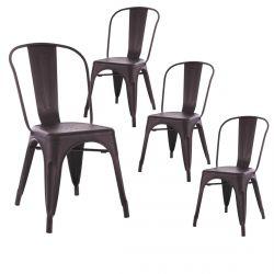 PAMELA - Lot de 4 Chaises Métalliques Noir Aspect Vieilli