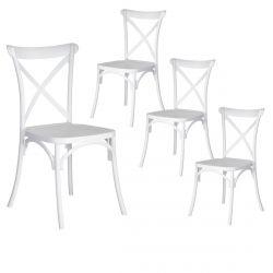 CLAIRIN - Lot de 4 Chaises Plastiques Blanches