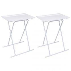 Kacy - Lot de 2 Tables d'Appoint Carrées Blanches Pliables