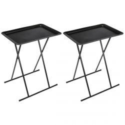 Kacy - Lot de 2 Tables d'Appoint Carrées Noires Pliables
